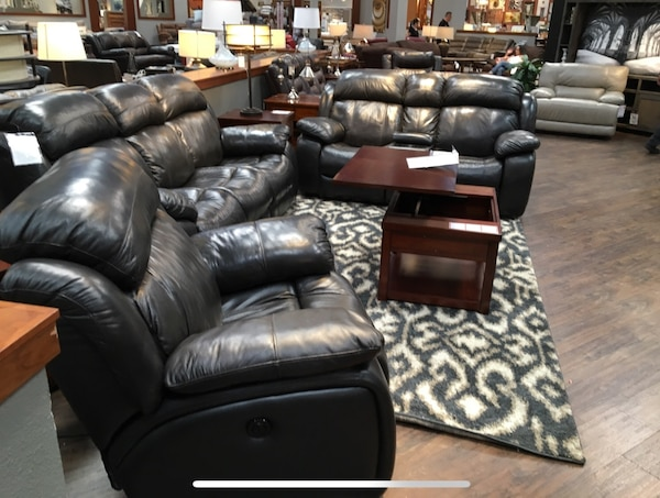 Used Flexsteel Leather Power Reclining Sofa Loveseat and Recliner ...