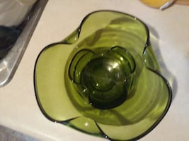 Vintage Anchor Glass Chip & Dip Bowl Set.
