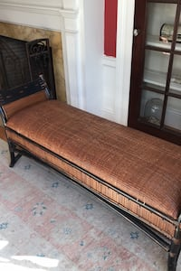 Wicker and wood bench