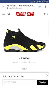 unpaired svart og gul Air Jordan 14 Thunder shoe screenshot Bergen, 5114