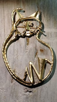 Gold Tone Wire Kitty Cat Brooch  FREE SHIPPING NEWTOWN