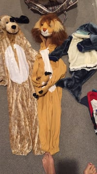 Cozy dog Halloween costume fits anywhere between 4-7 lion costume like new $15, fits about 4-6, dolphin $14 fits about 2-3 maybe 18 months as well depending on the child. Vaughan, L4J 5L7