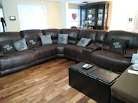 black leather sectional sofa with ottoman Tampa, 33612