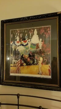 white, red, yellow and black people, platform and flag painting with wooden frame