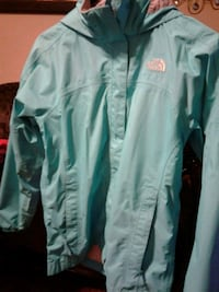 teal The North Face zip-up jacket