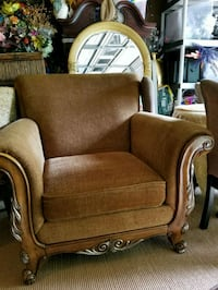brown wooden framed brown fabric padded sofa chair Decatur, 30034