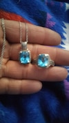 silver aquamarine pendant necklace with ring set