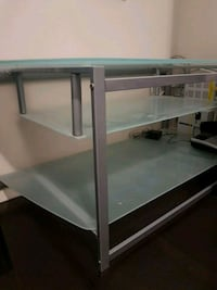 white wooden framed glass top TV stand Vancouver, V5M 2B7