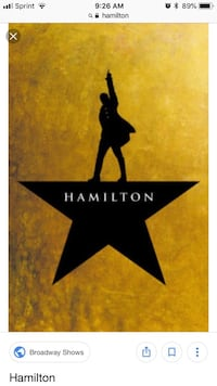 Premium Orchestra Center Hamilton Tickets Kennedy Center $450 or Best Offer Fairfax, 22031