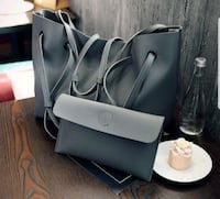 gray and black leather tote bag Singapore, 821269