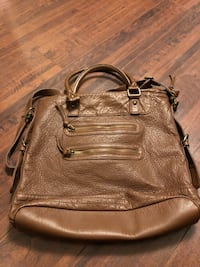 brown leather 2-way tote bag