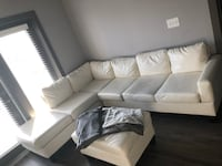 white leather sectional sofa with throw pillows Sandy Springs, 30350