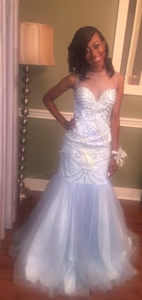 Soft baby blue gown with rhinestones... back out -size 4. #prom #evening gown Brandon, 39047