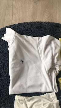 Hvit polo av ralph lauren collared topp 6098 km