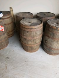 Empty whiskey barrels