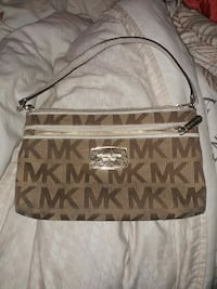 monogrammed brown and beige Michael Kors leather handbag Victoria