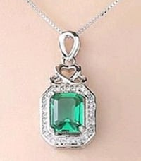 Stunning Emerald Cut Emerald and Cz necklace