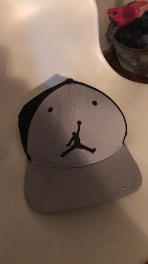 white and black Air Jordan fitted cap