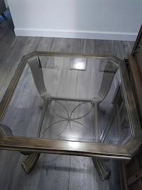 rectangular clear glass top table with gray metal base Los Banos, 93635
