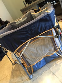 blue and yellow camping chair