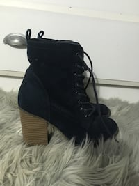 faux suede navy blue heeled booties Gaithersburg, 20879