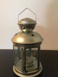 Silver star pattern tealight lantern