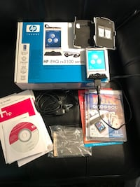 HP iPAQ rx 3100 series (used) has WiFi and Bluetooth capable connectivity. Needs a new battery but works on power adapter. Includes a hard case case and screen protector sheets along with Tetris Classic Game Pak expansion card and CD Sterling, 20164