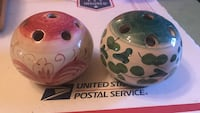Two red and green printed ceramic containers Jackson, 39206