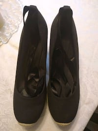 Black ribbon espadrilles