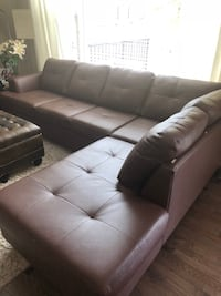 Tufted brown leather sectional sofa Calgary, T3H 0B4