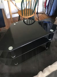Black glass TV television stand