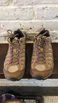 Pair of brown-and-pink hiking boots