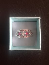 Silver white and pink diamond encrusted ring Gatineau, J8P 7Y2
