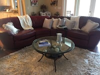 """""""Cranberry red"""" Leather sectional Lake Charles, 70601"""
