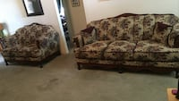 Brown and green floral fabric 3-seat sofa Hanford, 93230