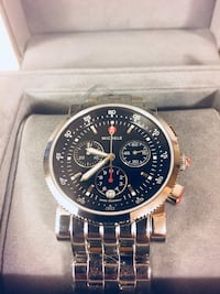 Brand New 100% Authentic Michele Sport Sail Stainless Steel Chronograph Women Watch with Black Dial Elizabeth, 07208