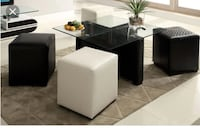 Glass Top Coffee Table With 4 Ottomans Toronto
