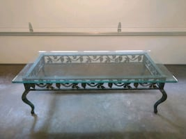 Wrought iron glass table (used)
