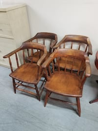 Set of Four Primitive Wood Dining Chairs Syracuse