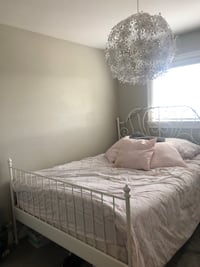 Like new white ikea queen bed frame  Langley