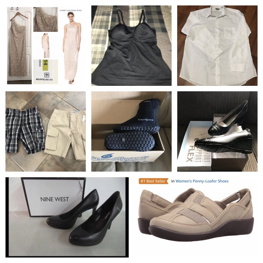New, unused.. clothing and shoes