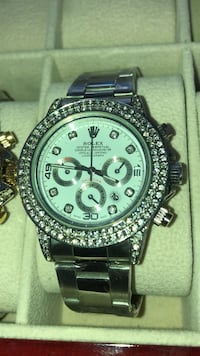round silver-colored chronograph watch with link bracelet Brampton, L6T 4A2