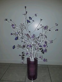 cristal vase and artificial plant