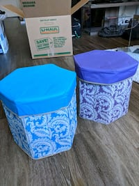 Two blue and purple fabric storage stools. San Francisco, 94158