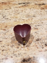 Vintage Heart- shaped Leather Ring Box.