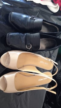 pairs of black-and-beige leather heels