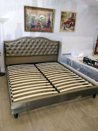 Brand New King Size Leather Platform Bed Frame  Silver Spring