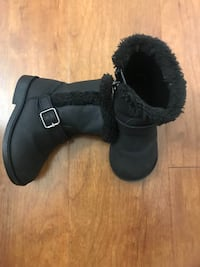 children's place toddler girls size 5 buckle boots black zip faux fur (Pick up only) Alexandria, 22304
