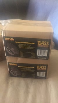 two black Bass Rockers BRM6 subwoofer speaker boxes 1267 mi