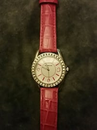 round silver-colored analog watch with red leather strap Hamilton